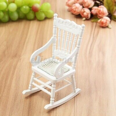 ❤️ 1:12 Dollhouse Miniature Furniture Wooden Rocking Chair for Dolls House