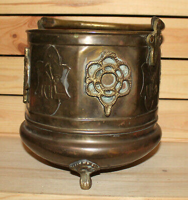 Antique hand made ornate brass Middle East fireplace coal bucket