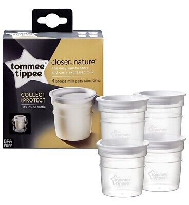 Tommee Tippee Breast Milk Storage Pots x 4 Baby Feeding Cups Microwavable NEW UK