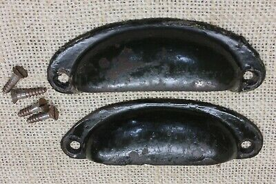 "2 old Bin Drawer Pulls handles Army green tool box 3 7/8"" vintage rustic iron"