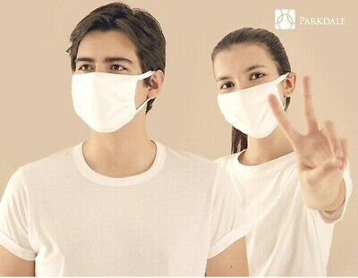 3 Layer FACE MASK Washable Reusable Soft White Cotton Anti-Viral, Anti-Microbial