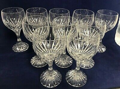 """10 Pre-Owned Baccarat Signed 7"""" Water/Wine Goblets, Massena, Excellent Condition"""
