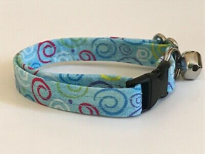 SWIRLS ON BLUE PRINT CAT OR KITTEN COLLAR (you choose the size)