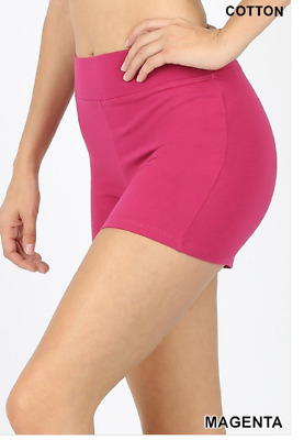 Zenana Outfitters M Shorts Wide Waistnand  Premium Stretch Cotton Blend Magenta