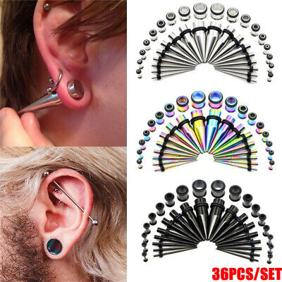 36pcs Steel Ear Taper Stretcher Tunnel Plugs Expander Kit Gauges Stretching Kit