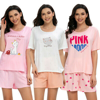 Women Summer Cute Cartoon Shorts Sleepwear Home Shirt Pants Pajamas Set