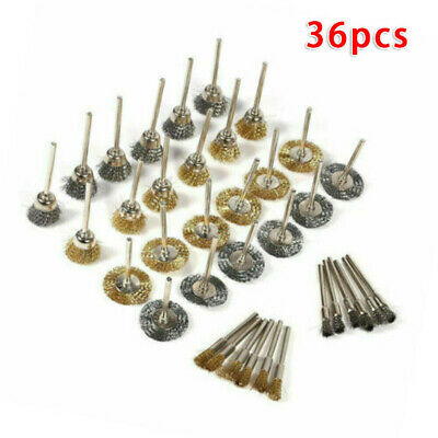 36X Wire Steel Brass Brushes Polishing Brush Wheels Set for Dremel Rotary Tool