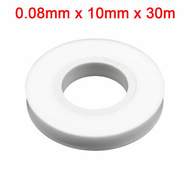 White Heat Resistant Adhesive PTFE Insulating Seal Tape Roll 0.08 x 10mm x 30m
