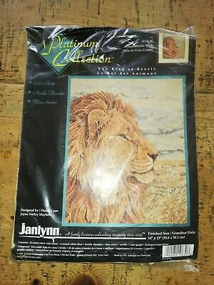 NEW JANLYNN PLATINUM COLLECTION CROSS STITCH KIT The king of the beasts  106-30