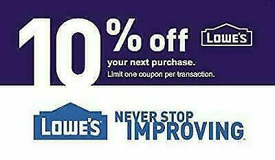 ONE (1X) 10% OFF LOWES 1Coupon - Lowe's In-storeOnly FAST Delivery