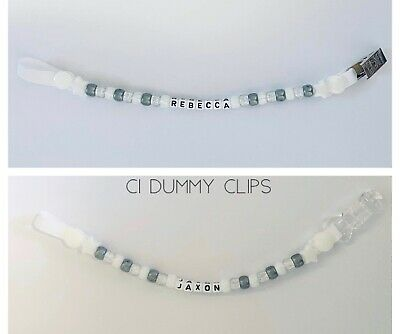 Personalised Dummy Clip Clips Chain Strap Boys Girls Any Name PLASTIC OR METAL