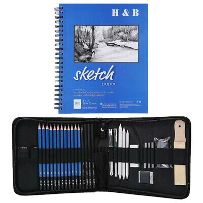 Graphite Sketch Pencils Set with Sketchbook Professional Artist Drawing Set