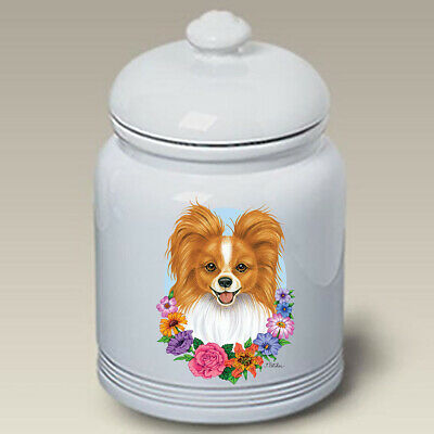 Red and White Papillon Ceramic Treat Jar TP 47064