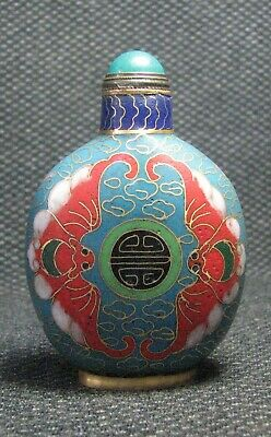 Chinese Copper Delicate Cloisonne Shou And Bat Snuff Bottle