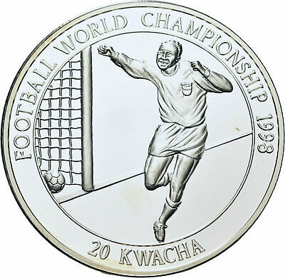 1998 Malawi Large Silver Proof 20 kwacha World Cup Soccer-France