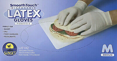 SmoothTouch Disposable Latex Gloves Medium -Powdered - 100 Count