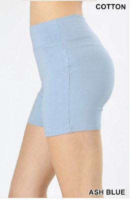Zenana Outfitters L Shorts Wide Waistnand  Premium Stretch Cotton Blend Blue