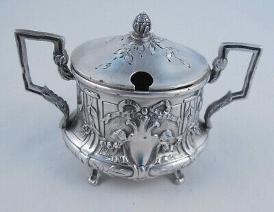950 Silver French Mustard Pot Unknown Maker Not Sterling