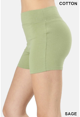 Zenana Outfitters M Shorts Wide Waistnand  Premium Stretch Cotton Blend Sage