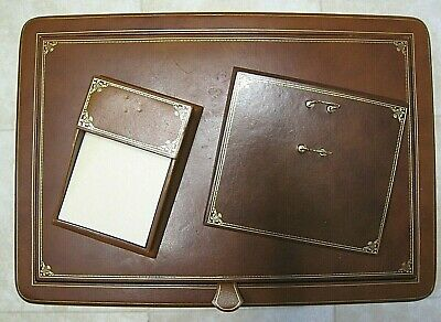 Luxurious Gigliodoro Brown Leather Desk Set Made in Italy Retail $600!