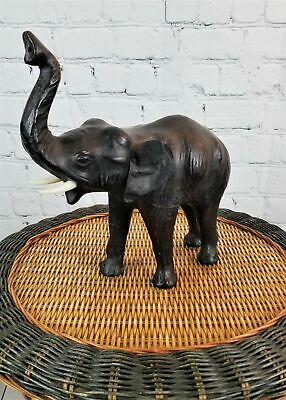 "Vintage Leather Covered Elephant 12"" tall"