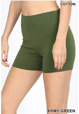 Zenana Outfitters S Shorts Wide Waistnand  Premium Stretch Cotton Blend Green