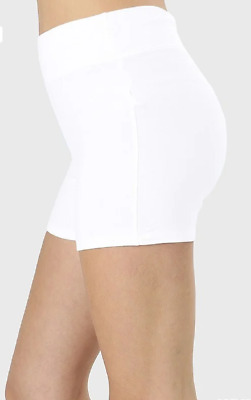 Zenana Outfitters S Shorts Wide Waistnand  Premium Stretch Cotton Blend White