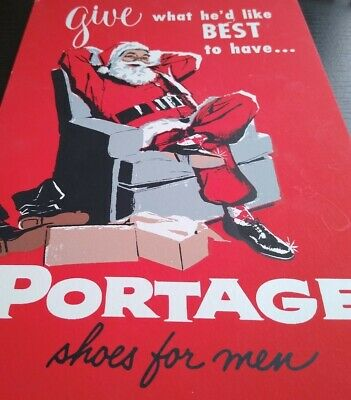 Vintage Original Christmas Santa Claus Portage mens Shoes Advertising POS Sign
