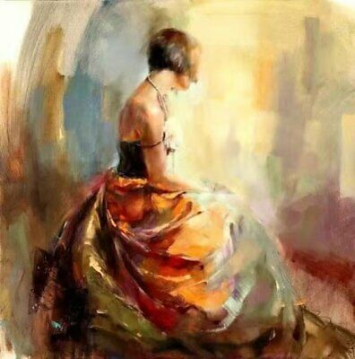 Modern Hand-Painted Figures Girl Abstract Oil Painting Repro Canvas Home Decor