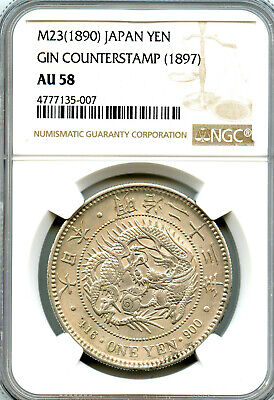 Japan 1890, Meiji year 23, Silver 1 Yen, GIN stamp on left side, NGC AU58