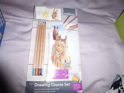 Drawing Course Set-Learn To Draw-10 Sheets Paper+4 Drawing Pencils-Dvd Instructi