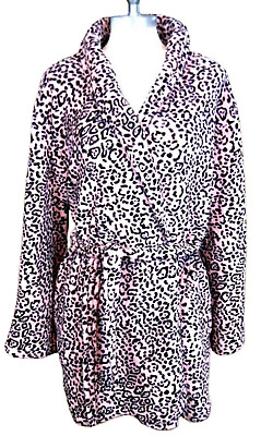 ULTA women's short lounge robe plush pink black faux leopard sz L/XL VTG 1980s