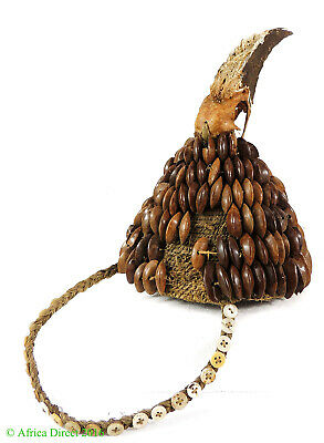 Lega Bwami Hat with Beak and Shells Congo African Art