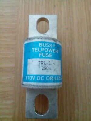 BUSS TELPOWER FUSE TPL-BH 250A, 170V DC or Less, Surplus Spare Never Used.