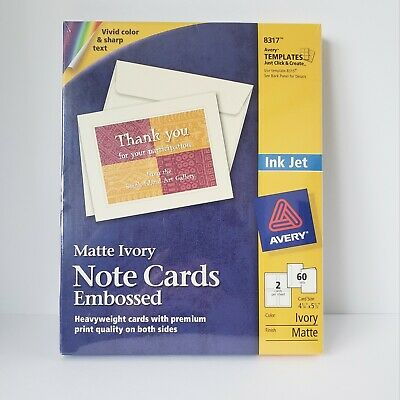 """Avery Ink Jet Note Cards Embossed Matte Ivory 4 1/4"""" X 5 1/2"""" 60 Sets #8317"""