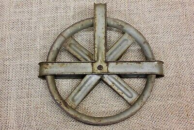"""old wash line pulley barn well antique vintage S R MFG 1920 rustic steel 5 3/8"""""""