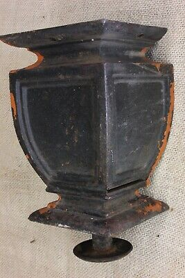 """old URN porch post column base foot rustic 4"""" square vintage iron leveling CHIP"""