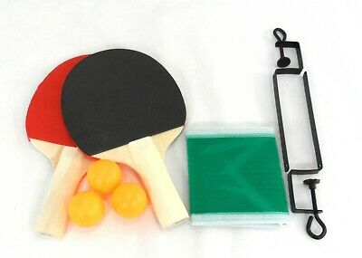 New Table Tennis Complete Set 2 Paddle Bats 3 Ping Pong Balls Net Family Game UK