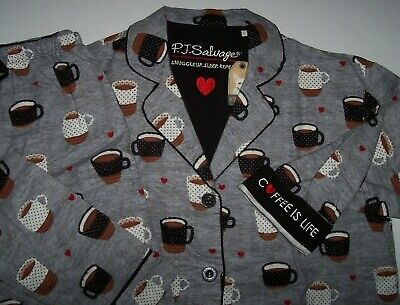 NWT PJ Salvage WARM Heather Gray COFFEE IS LIFE Flannel Pajama Set XS Red HEARTS