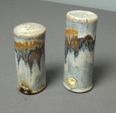 "Studio Pottery Salt and Pepper Shakers - Handmade  - 4 3/4"" t & 4"" t - e sb"