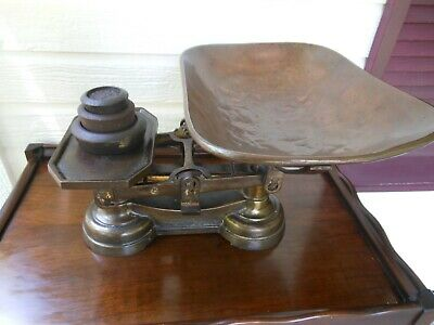 English Cast Iron Balance Kitchen Farmhouse Scales Copper Pan Cast Iron Weights
