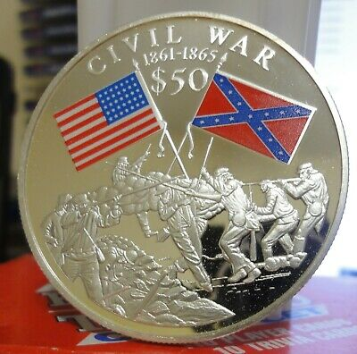 Liberia 2000 US Civilo War $50 Coin~ .999 Silver~2 Troy ounces