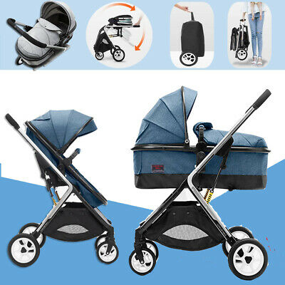 Blue Baby Stroller Travel system portable Lightweight Pushchair infant carriage