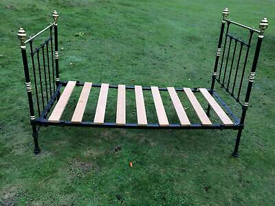 Antique Cast Iron and Brass Single Bed