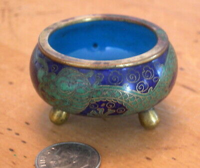 Vintage Miniature Chinese Cloisonne Bowl on Brass Feet
