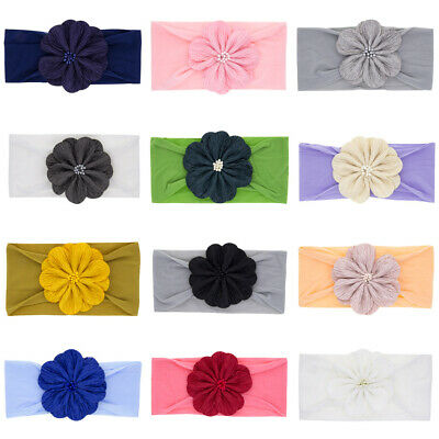 Elastic Baby Nylon Headbands Girls Flower Hairband Head Wraps Toddler Turban