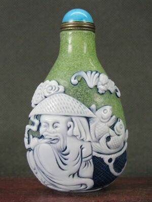 Chinese Elder Lohan Carved Peking Overlay Glass Snuff Bottle