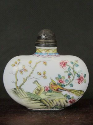 Chinese Flower Bird Hand Painted Copper Enamel Snuff Bottle