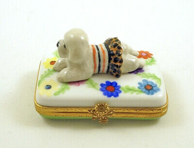 New French Limoges Trinket Box Bichon Frise Dog Puppy On Colorful Flowers