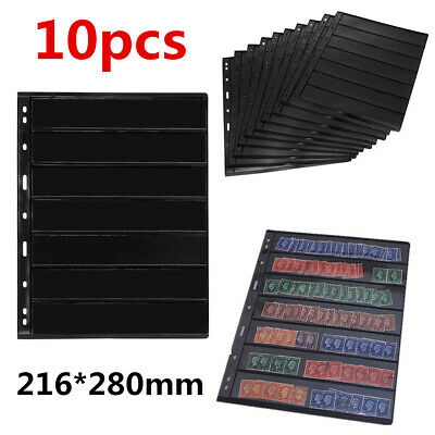 10 Sheet of Stamp Stock Page (7 Strips) & 9 Binder Holes - Double Sided & Black